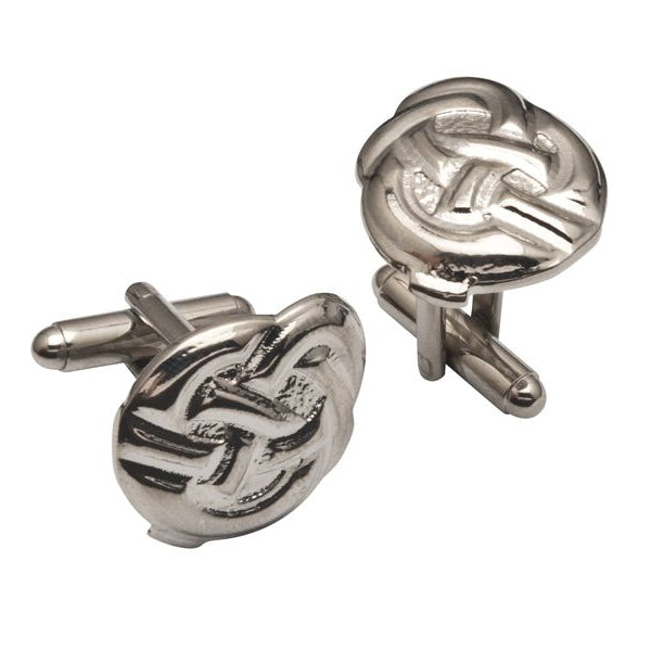 Celtic Art Celtic Button Knot Pewter Cufflinks - TRCL503