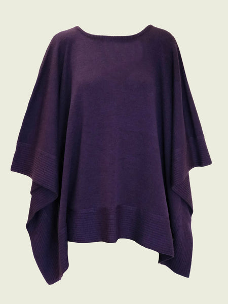 MERINO WOOL PONCHO WITH BORDER