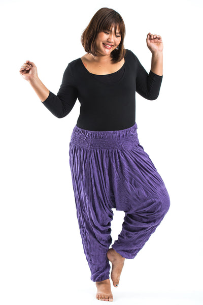 Plus Size Crinkled Cotton Harem Pants in Purple
