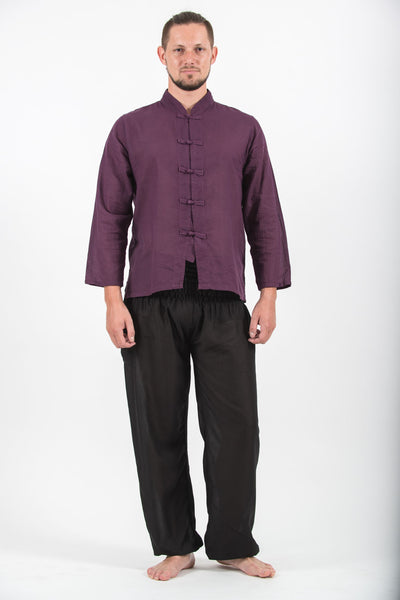 Mens Yoga Shirts Chinese Collared in Purple