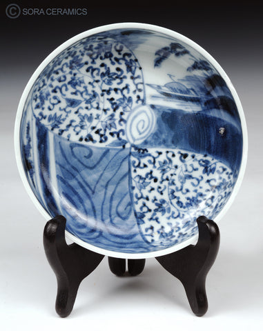 Imari small bowl, blue designs on white