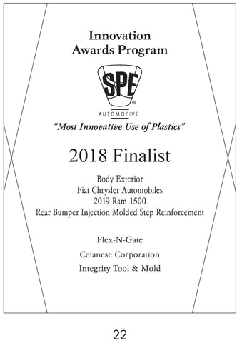 22 Body Exterior:  Rear Bumper Injection Molded Step Reinforcement - 2018 Finalist