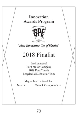 73 Environmental:  Recycled MIC Exterior Trim - 2018 Finalist