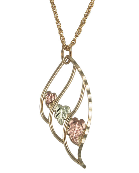 Black Hills Gold 10K Three Leaf Pendant
