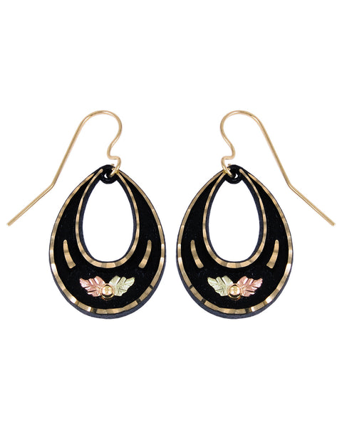Black Hills Gold Powder-Coated Teardrop Earrings