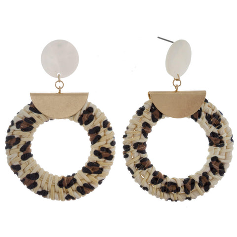 Straw Hoop Cheetah Earrings