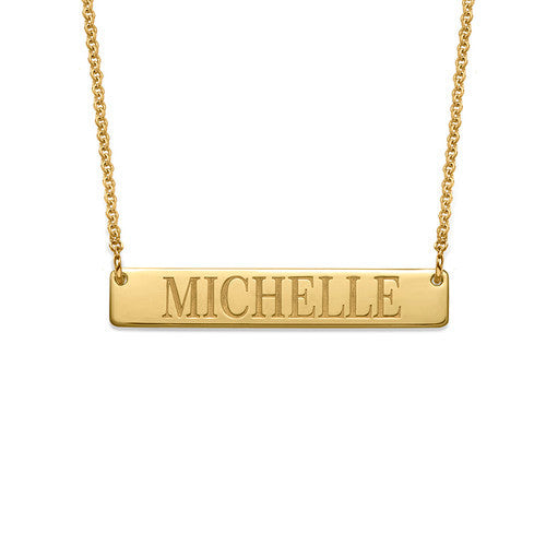 Bar Engraved Name Necklace (silver or gold plated)
