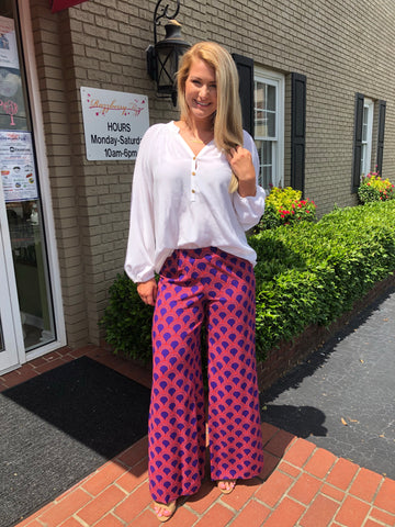 Holly Pant in Orange/Purple Cannes