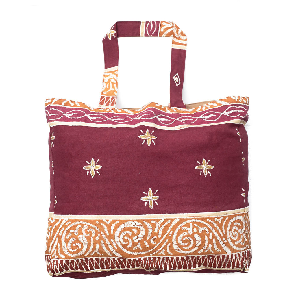 Hand painted shopping bag with African print