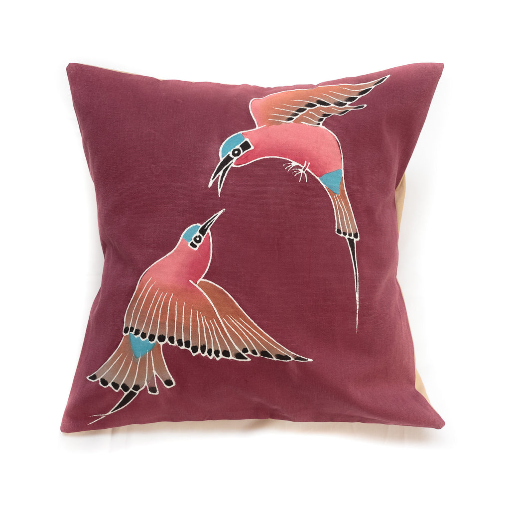 Cushion cover decorated with Carmine Bee Eater design