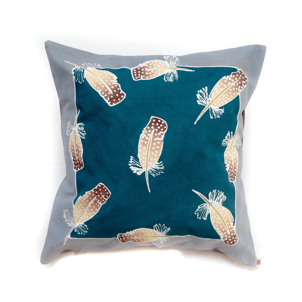 Cushion cover in guinea-fowl feather design