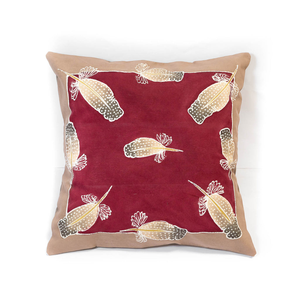 Cushion cover in guinea-fowl feather design made in Mfuwe
