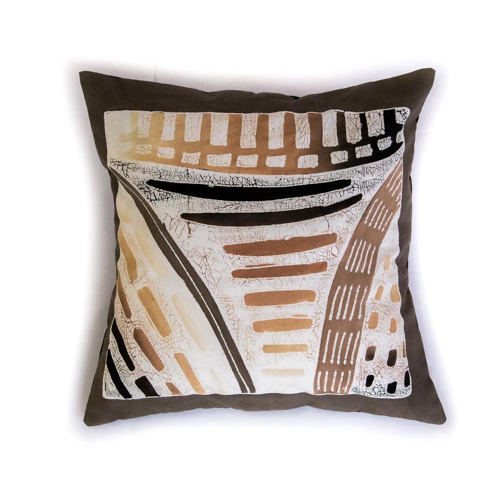 African print pillow in honeycomb design