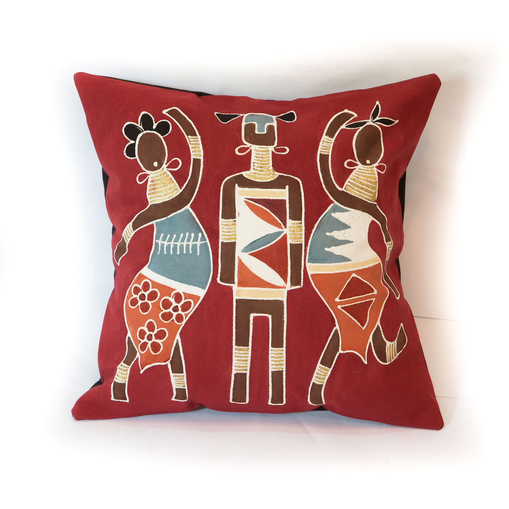 Hand-painted African cushion cover with massai warriors