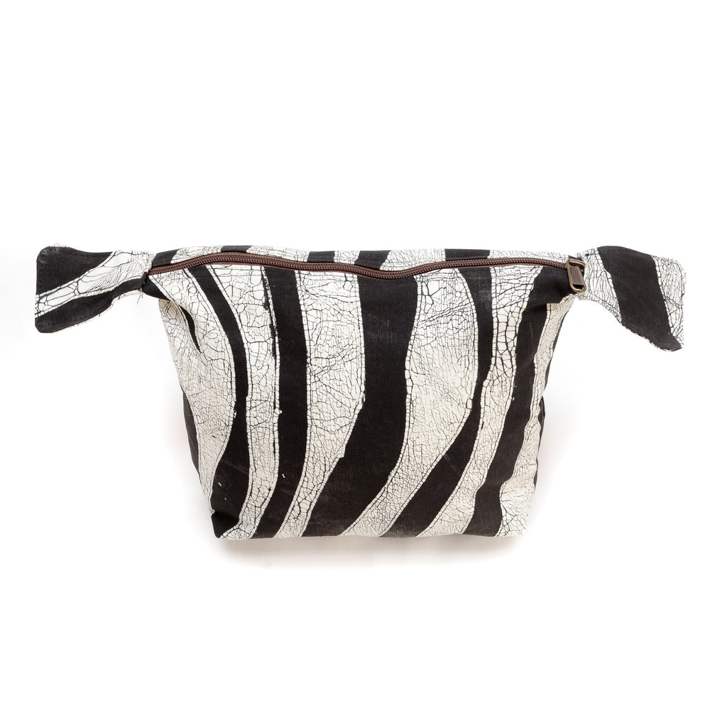 Hand-painted Wash Bags with zebra pattern