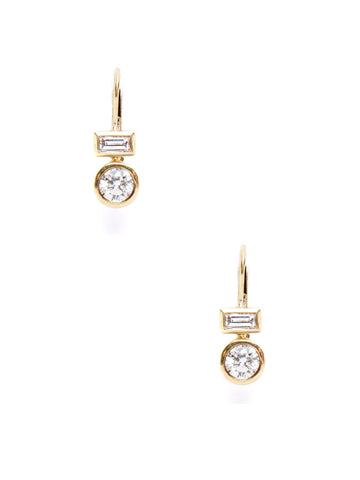 Rectangle Round Drop Earrings