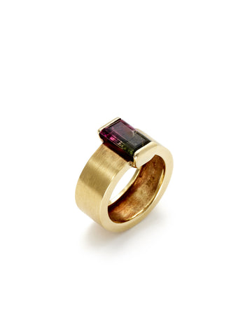 Bi-Color Tourmaline Planes Ring