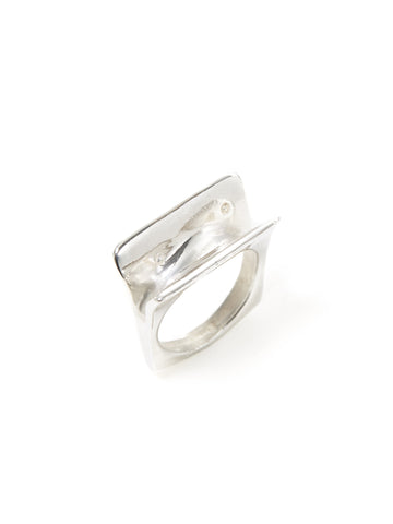 Silver Swooped Square Ring