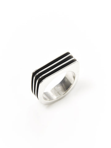 Silver Ridged Square Ring