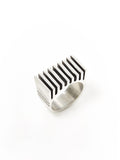 Silver Ridged Grill Square Ring