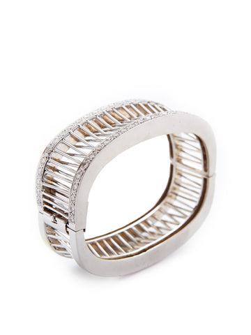 Reflecting Rods Diamond Platinum Cuff