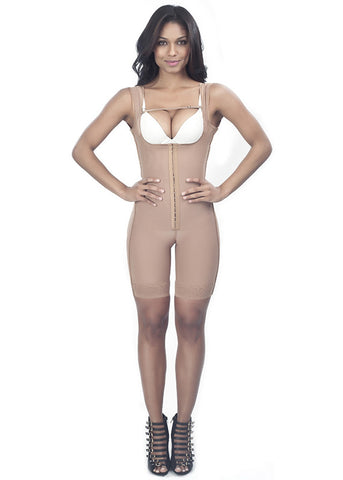 Open-rear Girdle with Half Leg Size - 1604 - Nude - Front View