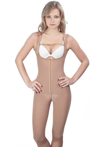 Classic Long leg Girdle with Lycra Buttock Covers - Nude - Front View1646