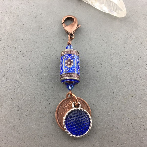 LUCKY PENNY CHARM WITH HANDMADE GLASS BEAD AND TOPAZ CHARM II