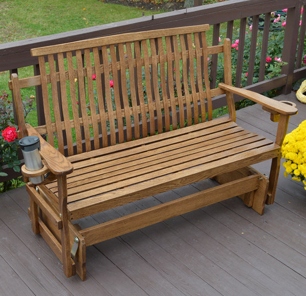 Bent Oak Glider Bench Amish Furniture Gardenbenches Net