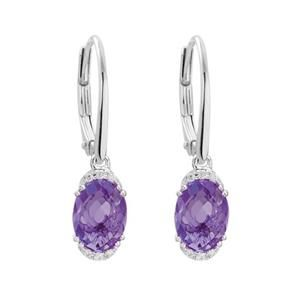14K WHITE GOLD HINGED - OVAL AMETHYST + .05CT DIAMOND EDGE