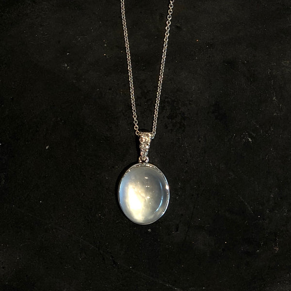 14K WHITE GOLD MOTHER OF PEARL, QUARTZ AND DIAMOND NECKLACE