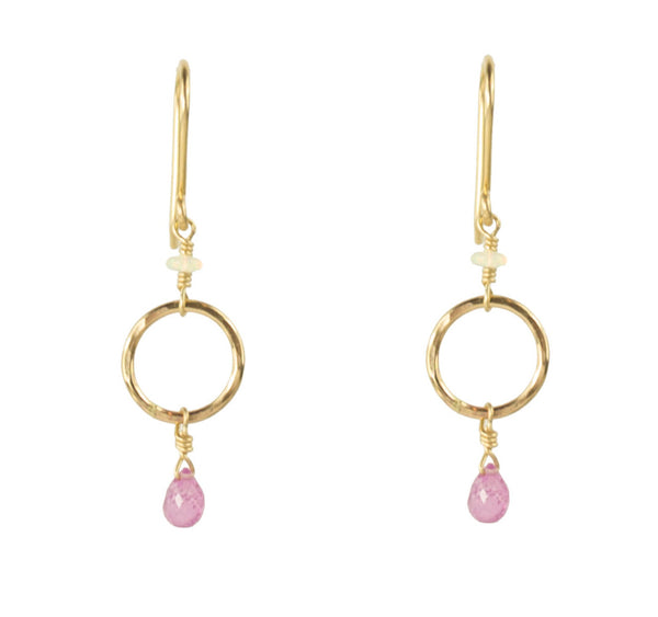 GF HOOP EARRING WITH PINK SAPPHIRE DROP AND OPAL RONDELLE
