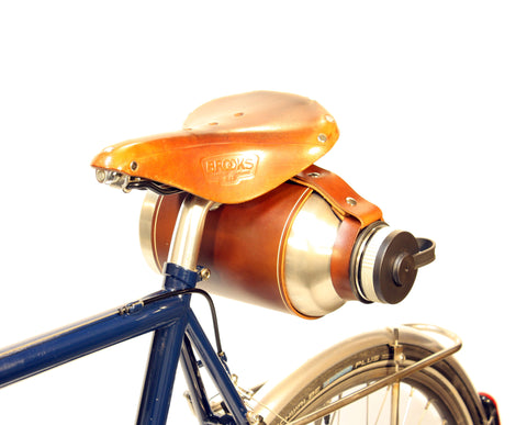 Bicycle Mounted Leather Carrier for Hydro Flask 64oz. Growler