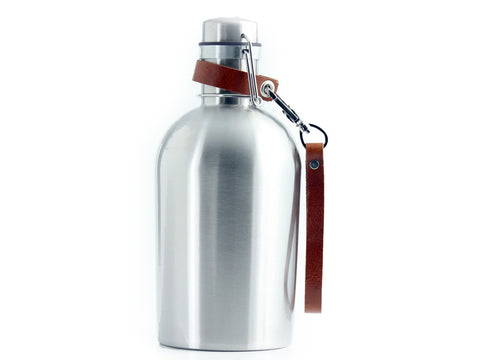 SS Growler® with Leather Clip on Strap Handle - SS GROWLER® INCLUDED