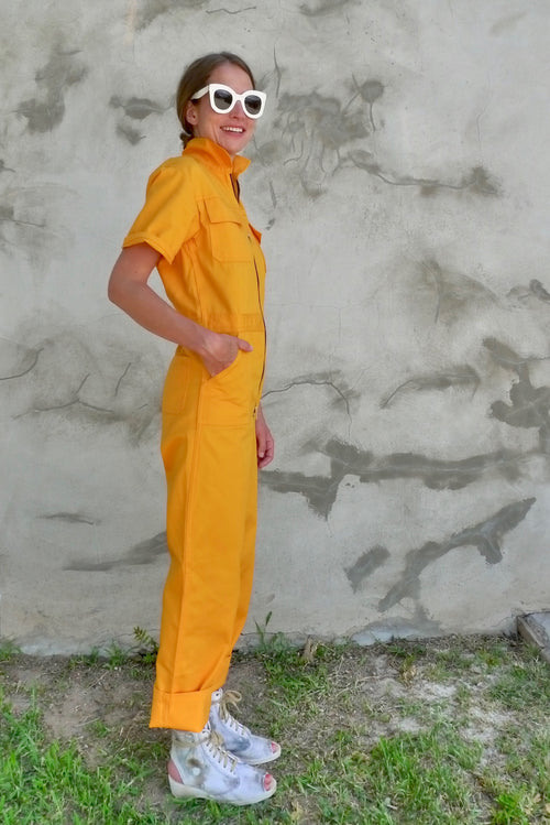 Hey Hey X Yellow Cotton Jumpsuit