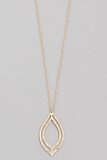 Hammered Wire Oval Pendant Necklace