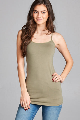 Light Olive Basic Cotton Long Adjustable Spaghetti Strap Cami Tank