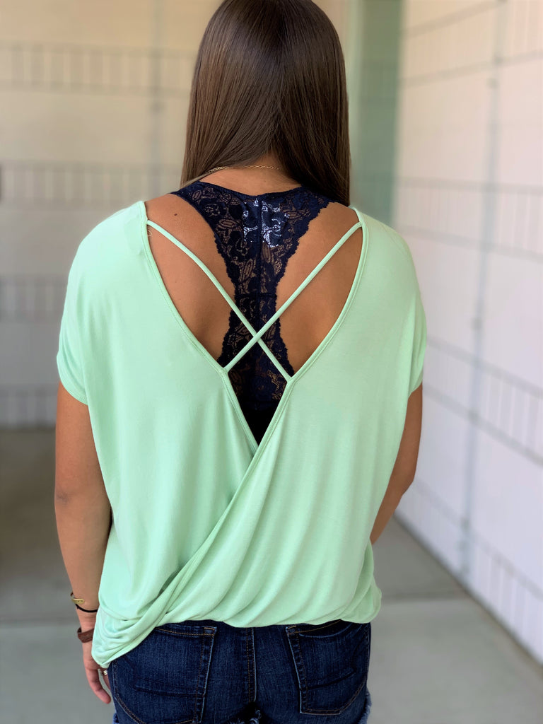 sage green open back crisscross short sleeve top