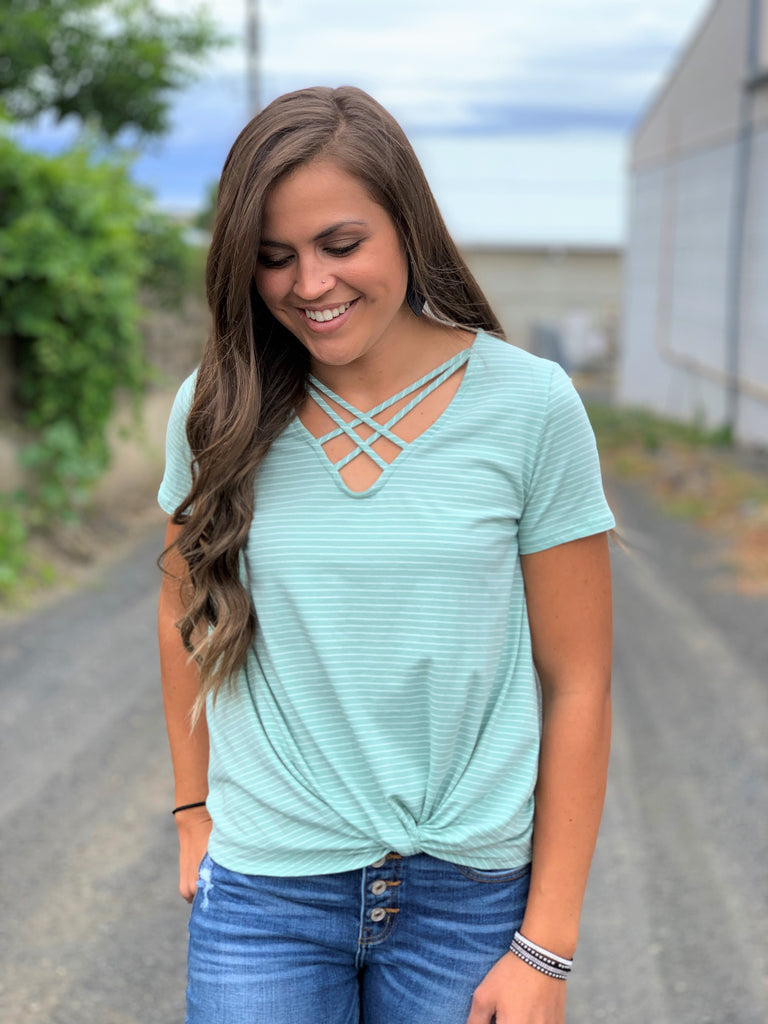Light Mint Striped Strappy Chest Knot Top