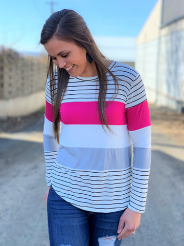 White Black Pink Striped Colorblock LS Top