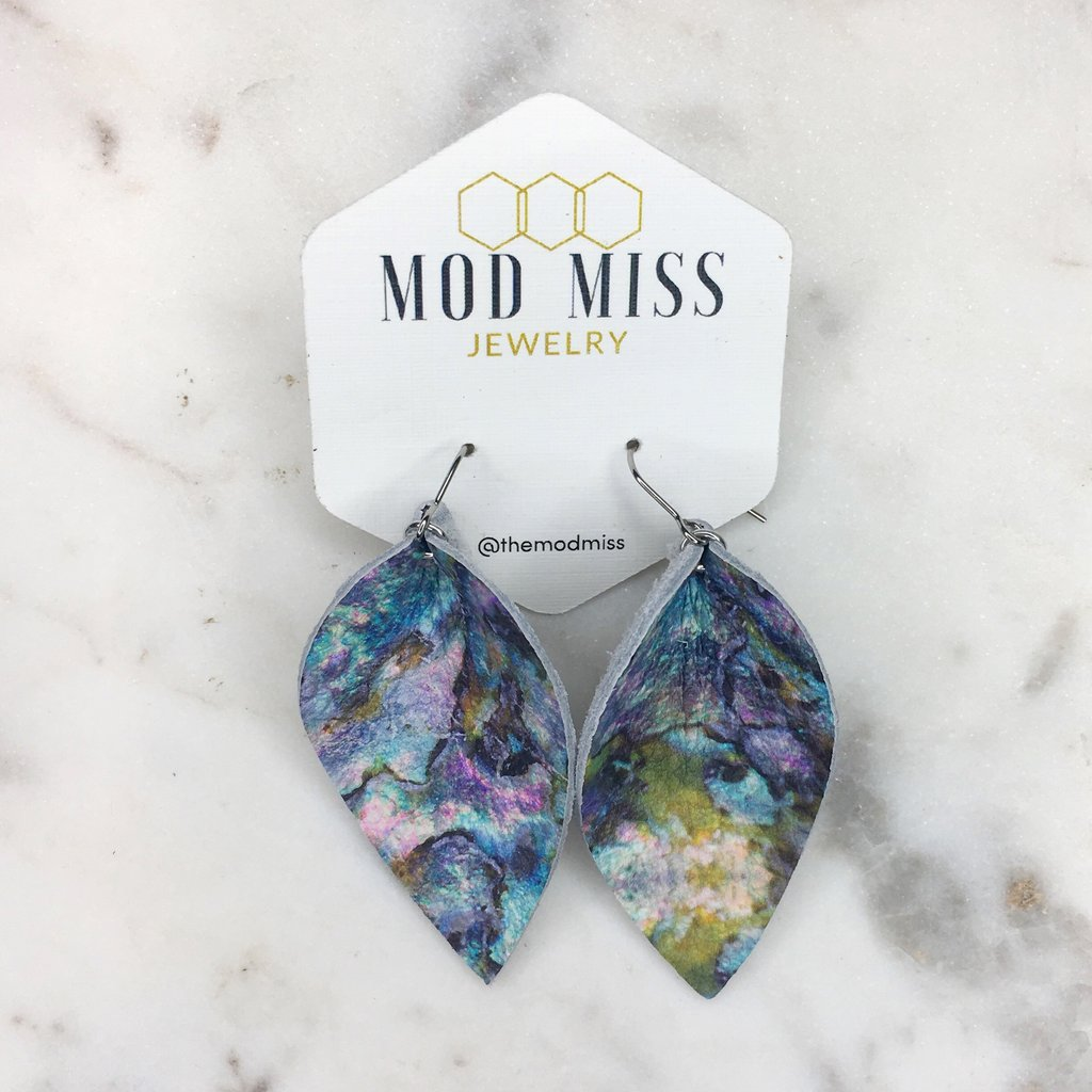 blue marble petal leather earrings