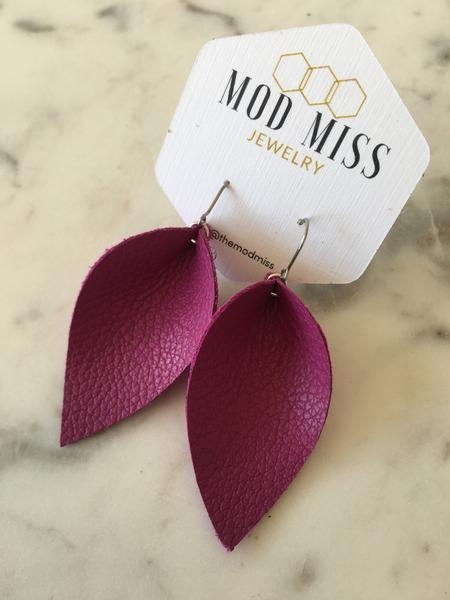 Magenta Leather Petal Earrings