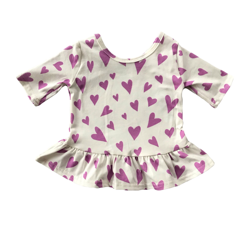 Orchid Heart Three Quarter Sleeve Peplum Top