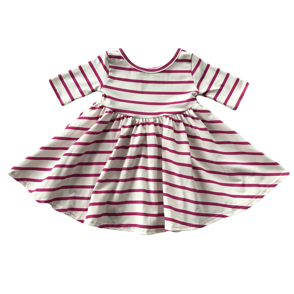 Magenta Stripe Three Quarter Sleeve Twirly Dress