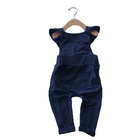 Ruffle Strap Pocket Overall in Midnight