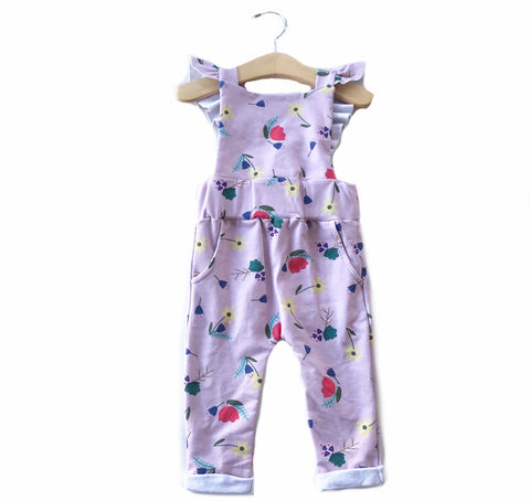 Ruffle Strap Pocket Overall in Mauve Berry Floral