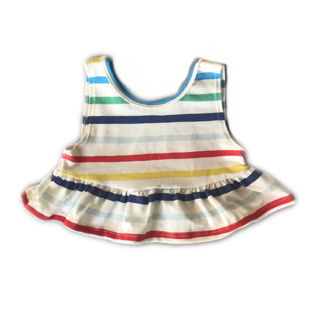 Primary Stripe Crop Peplum Tank