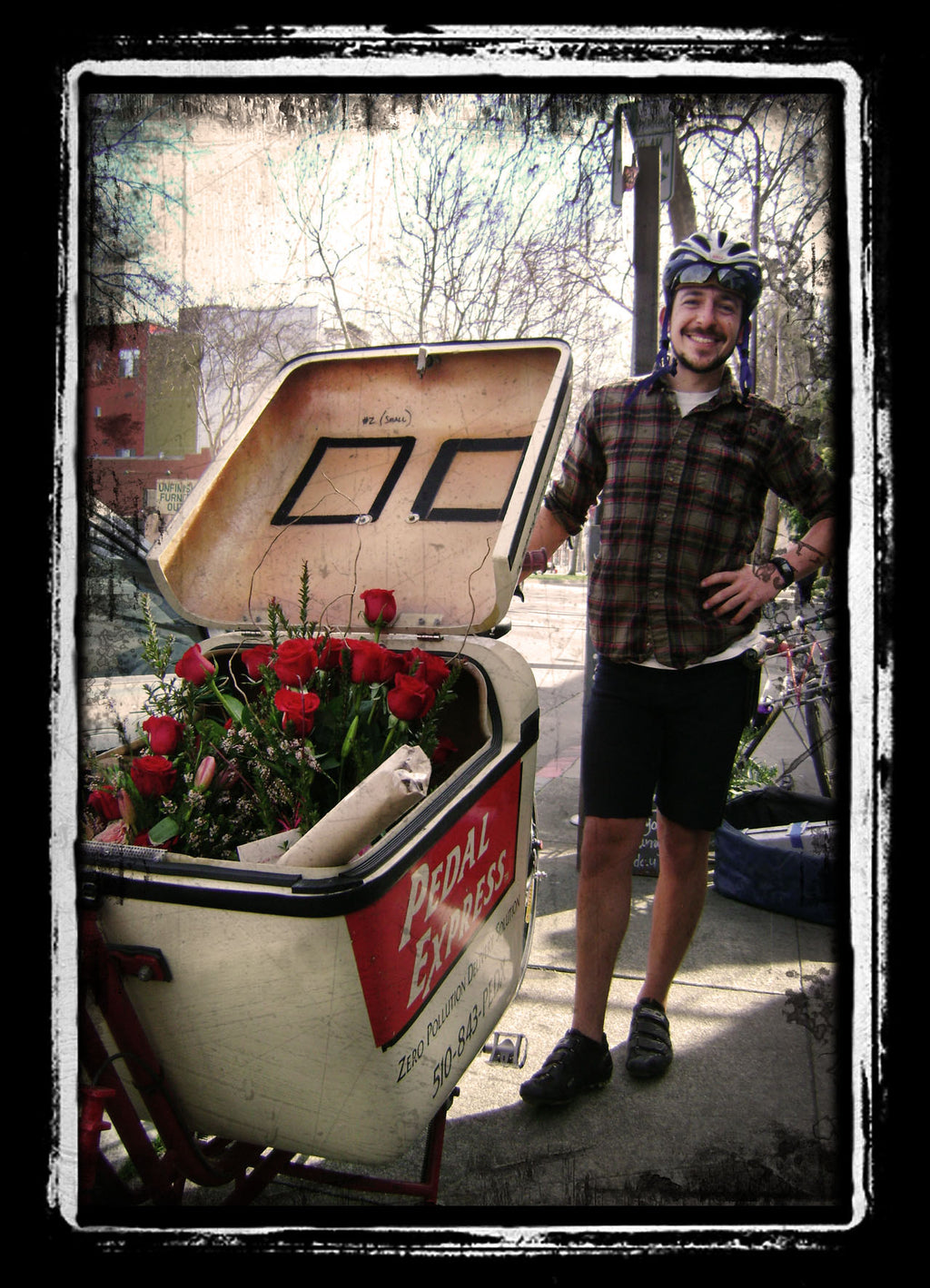 Bike Courier ready to deliver flowers for Gorgeous and Green customers