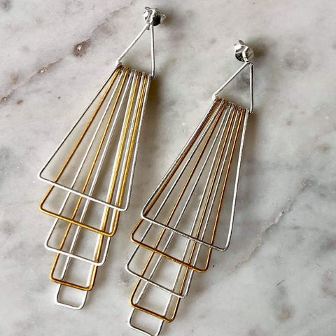 Geometric Two Tone Earrings