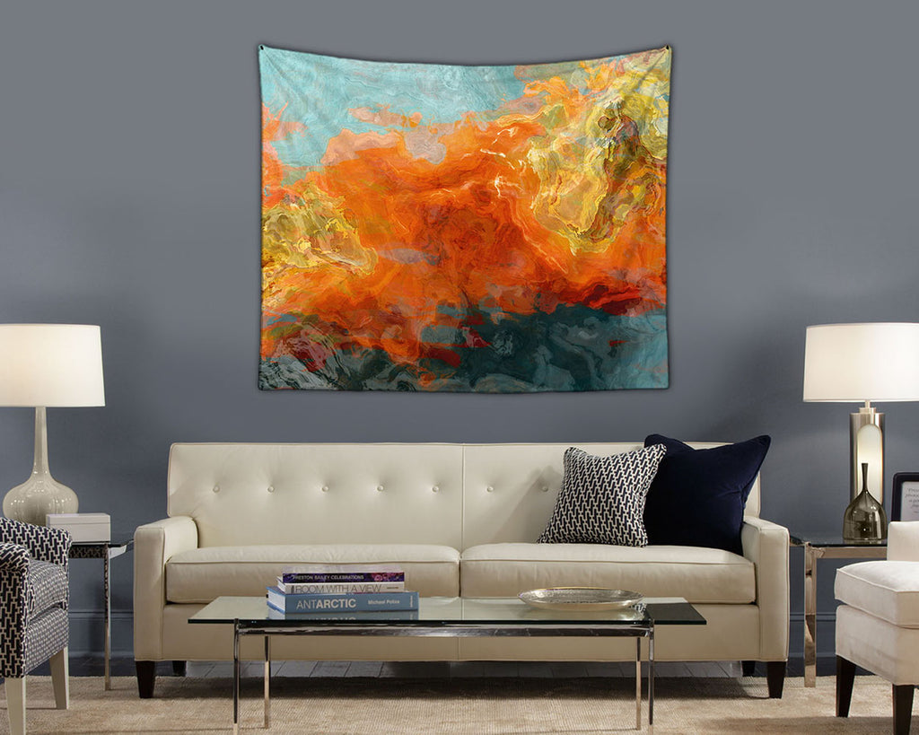 Abstract Art Tapestry, modern wall hanging in orange, yellow and teal